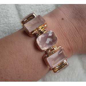 Vergulde armband gezet met facet geslepen Rozenkwarts