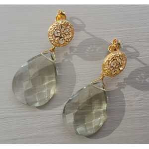 Vergoldete Ohrringe mit grünem Amethyst