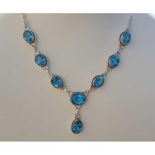 Silber Halskette set mit ovalen und tropfenförmigen blau-Topase