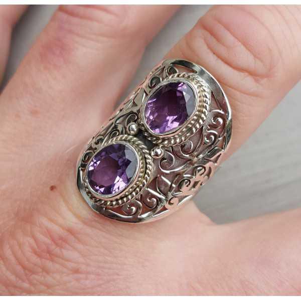 Silber ring set mit zwei oval facet Amethisten 18.5
