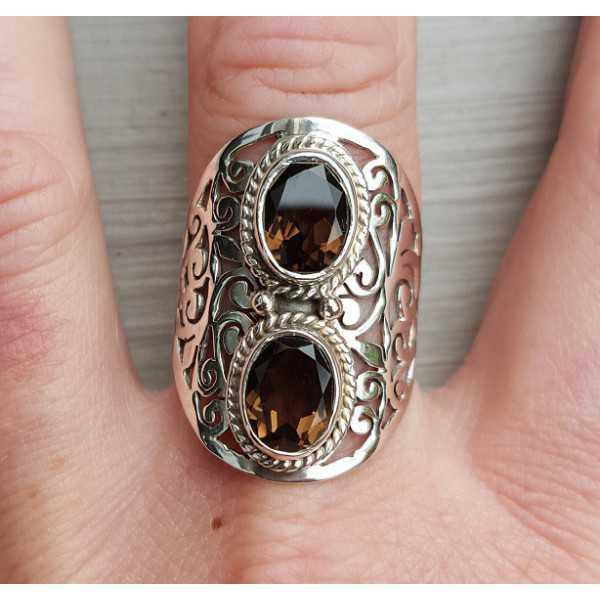 Silber ring set mit zwei ovalen rauchige Topase 19.3 mm