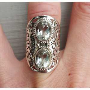 Zilveren ring gezet met twee ovale groene Amethisten 17