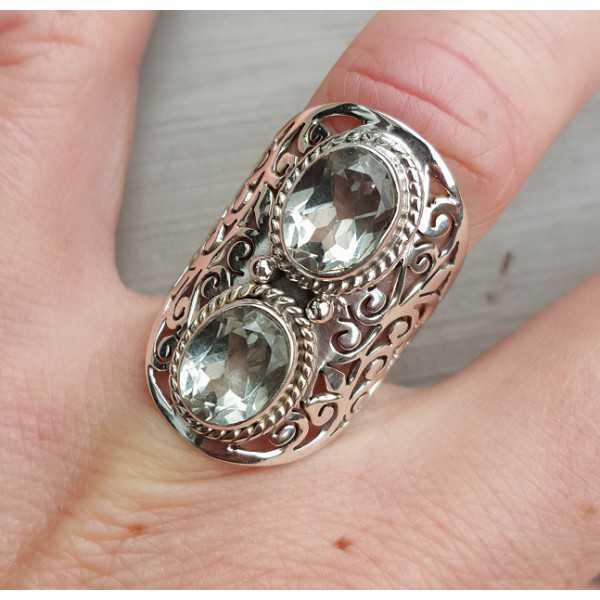Silber ring set mit zwei ovalen grünen Amethisten 17