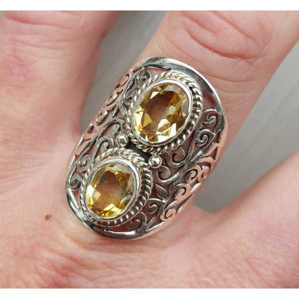 Silber ring set mit Citrin 19.3 mm