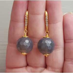 Vergulde oorbellen met grijze Agaat