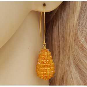 Goud vergulde oorbellen met druppel van Citrien