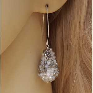 Ohrringe mit einem Tropfen gemischt, Grau-weiße Kristalle
