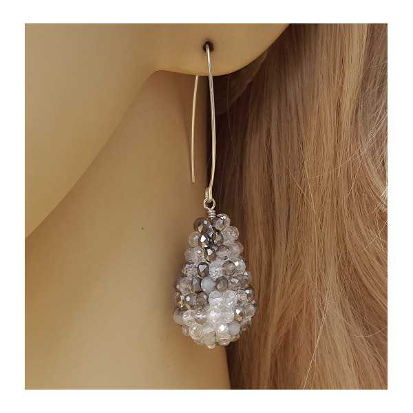 Earrings with a drop of mixed grey white crystals