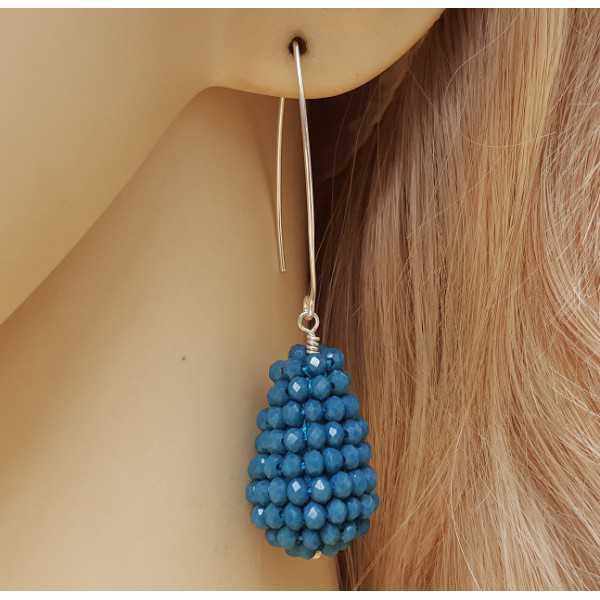 Silver earrings with drop jeans blue crystals