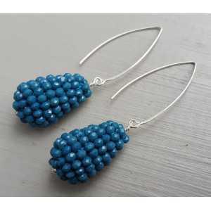 Silber Ohrringe mit drop-jeans blau Kristalle