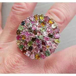 Silber ring set mit Facette cut Turmalin 19 mm