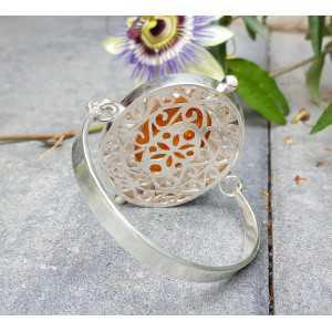 Silber Armband mit großen ovalen Bernstein und Perle
