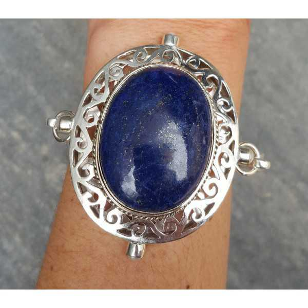 Silver bracelet set with large oval Lapis Lazuli and Pearl