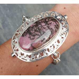 Silber Armband mit großen ovalen Rhodonit und Pearl