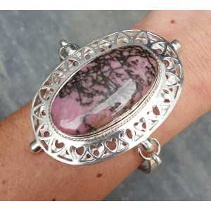 Silver bracelet set with large oval Rhodonite and Pearl