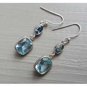 Silber Ohrringe-set mit rechteckigen und ovalen blauen Topas