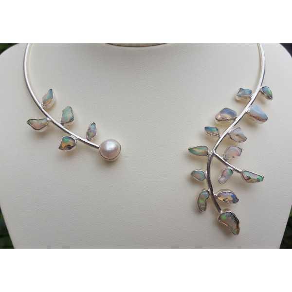 Silber choker-set mit äthiopischer Opal und Perle