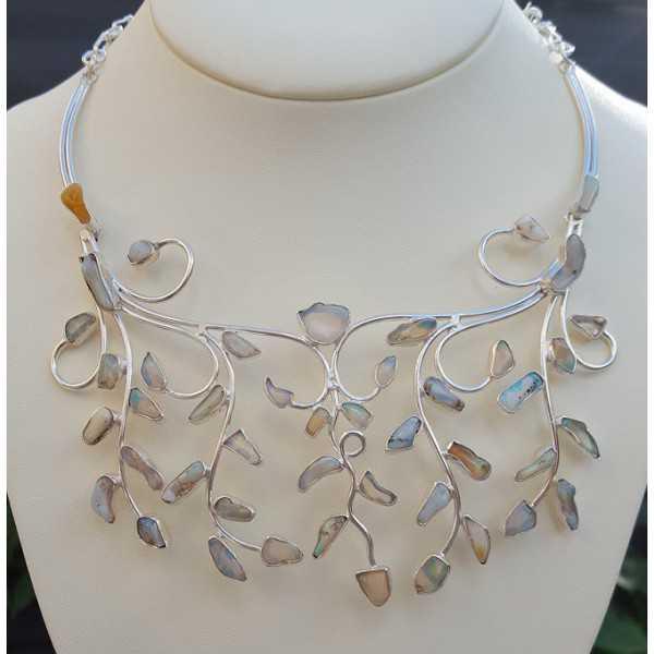 Silber Halskette set mit groben äthiopische Opale