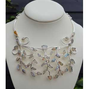 Silver necklace set with rough Ethiopian Opals