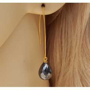 Goud vergulde oorbellen met Hematiet briolet