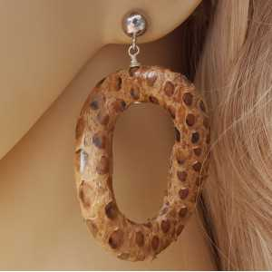 Silver earrings with wavy snakeskin pendants