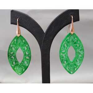 Oorbellen met marquise uitgesneden groene Jade
