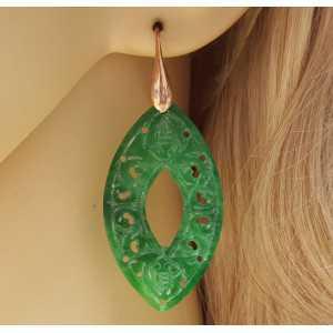 Rosé vergulde oorbellen met marquise uitgesneden groene Jade