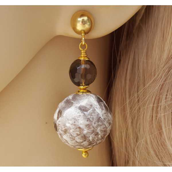 Gold plated earrings with Smokey Topaz and sphere of snakeskin