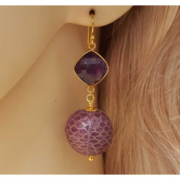 Gold plated earrings with Amethyst and sphere of snakeskin