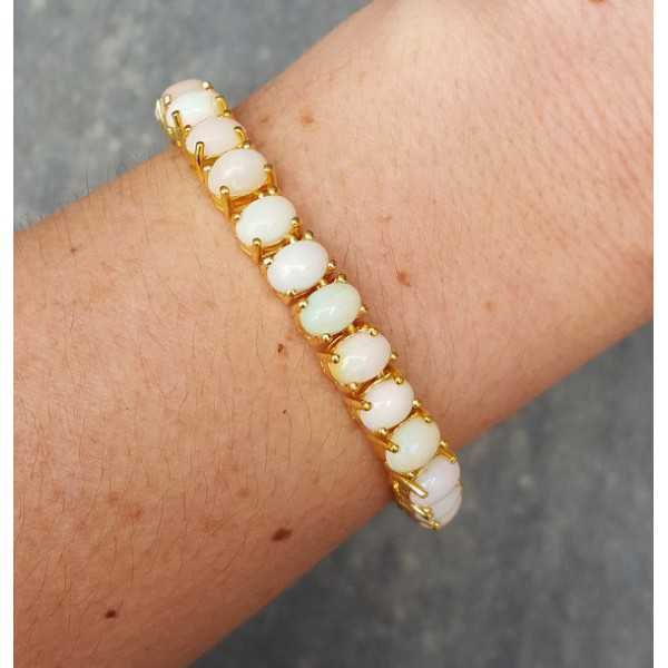 Gold plated bracelet set with Ethiopian Opals