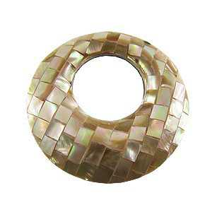 Pendant set round pendant mosaic mother of Pearl brown