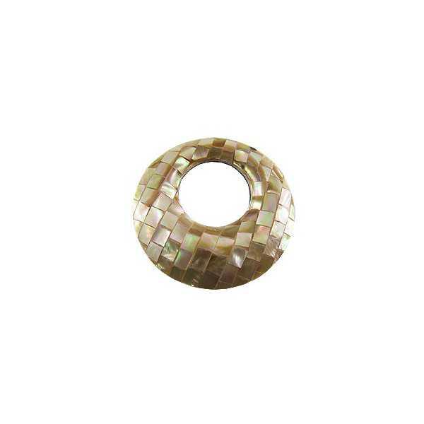 Hanger set ronde hanger van mozaiek Parelmoer bruin