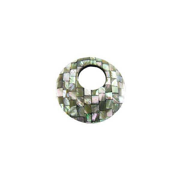 Anhänger-set Runde Anhänger aus Mosaik-Perlmutt-Grau