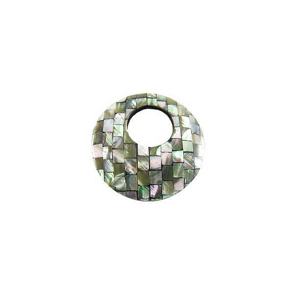 Pendant set round pendant of mosaic mother-of-Pearl grey