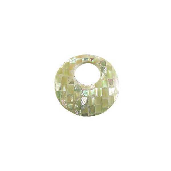 Hanger set ronde hanger van mozaiek Parelmoer wit