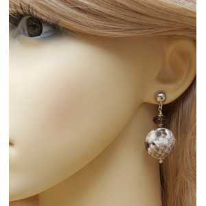 Silver earrings with Smokey Topaz and sphere of snakeskin