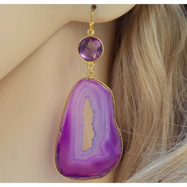 Vergulde oorbellen met druzy paarse Agaat en Amethist