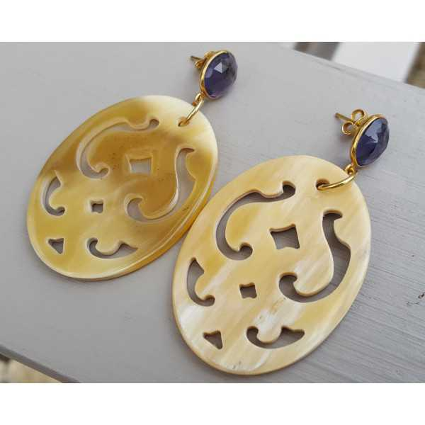 Gold plated earrings with Amethyst and oval-cut buffalo horn