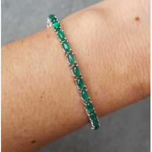 Zilveren armband gezet met cabochon geslepen Aventurijn
