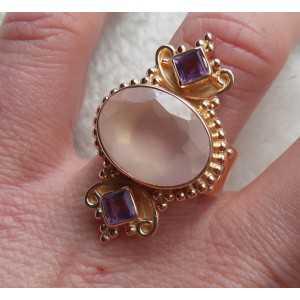 Vergulde zilveren ring gezet met Rozenkwarts en Amethist 17.3 mm