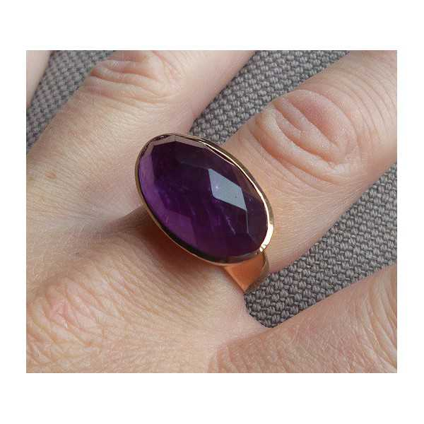 Vergulde ring met dwarsliggende ovale Amethist 18 mm