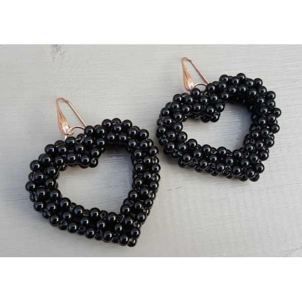 Ohrringe mit Herz aus schwarzen Achat-Steinen