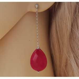 Silber lange Ohrringe mit Rubin-roten Jade-briolet