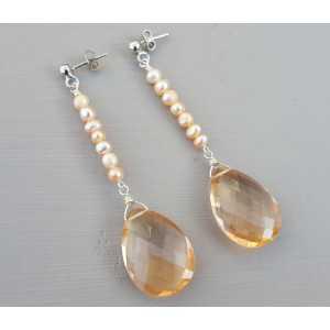 Silber-Ohrhänger mit Champagner Topas briolet und Perlen