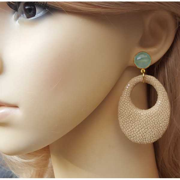 Gold plated earrings with aqua Chalcedony and beige Roggenleer