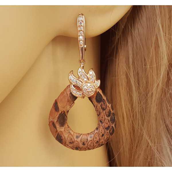 Rose gold plated earrings of Snakeskin and set with Zirconia