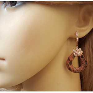Rose vergoldete Ohrringe aus Schlangenhaut und set mit Zirkonia