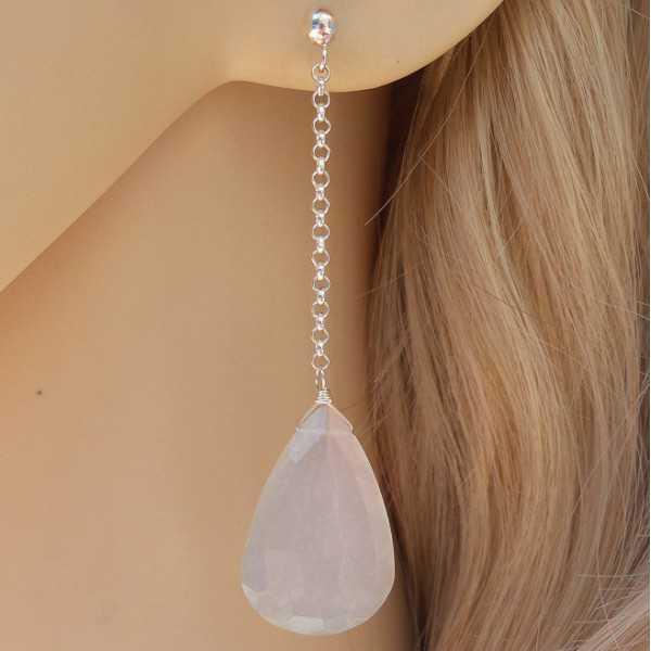 Zilveren oorbellen met grote Maansteen briolet