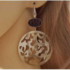 Silver earrings round-cut buffalo horn and Amethyst