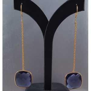 Goud vergulde lange oorbellen met vierkante Ioliet quartz